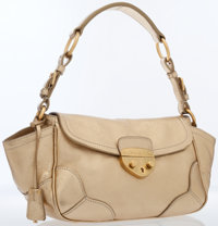 Prada Gold Leather Shoulder Bag with Gold Hardware