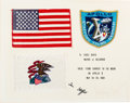 Explorers:Space Exploration, Apollo 10 Flown American Flag, Flown Illinois Flag, and FlownEmbroidered Mission Insignia Patch on Crew-Signed Presentation M...
