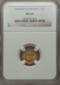 Mexico, Mexico: Republic gold 1/2 Escudo 1832 Mo-JM MS62 NGC,...