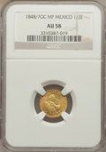 Mexico, Mexico: Republic gold 1/2 Escudo 1848/7 GC-MP AU58 NGC,...