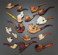 FIFTEEN MEERSCHAUM PIPES AND THREE BOWLS, Late 19th century Marks to pipe of man wearing a fez: MADE IN TURKEY<...