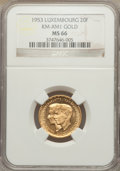 Luxembourg, Luxembourg: Charlotte gold 20 Francs 1953 MS66 NGC,...