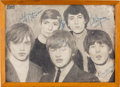 Music Memorabilia:Autographs and Signed Items, Rolling Stones Signed Fan Art Drawing (c. 1964)....