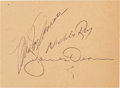 Movie/TV Memorabilia:Autographs and Signed Items, A Marilyn Monroe, James Dean, and Nicholas Ray Signed Piece ofPaper, 1954....