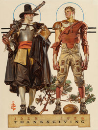 JOSEPH CHRISTIAN LEYENDECKER (American, 1874-1951) Thanksgiving, 1628-1928: 300 Years (Pilgrim and Football Pla
