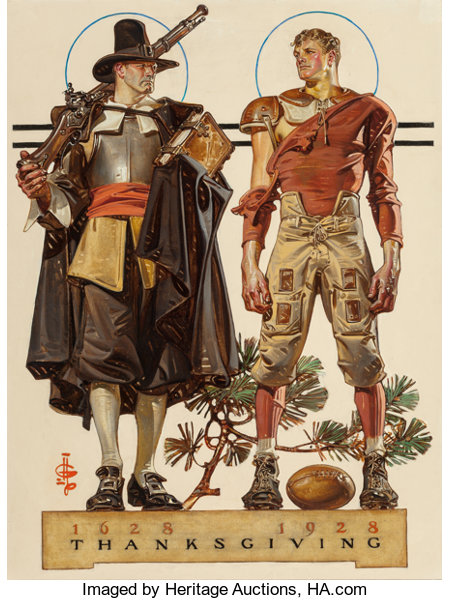 JOSEPH CHRISTIAN LEYENDECKER (American, 1874-1951)Thanksgiving, 1628-1928: 300 Years (Pilgrim and Football Player), The ...