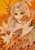 Pulp, Pulp-like, Digests, and Paperback Art, GEORGE BARR (American, b. 1937). Autumn Nymph, probable fantasypaperback cover, 1960. Mixed media on paper laid on boar...