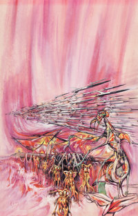 JOSH KIRBY (British, 1928-2001) Attack of the Queen, probable science fiction paperback cover Waterc