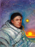 Mainstream Illustration, DONATO GIANCOLA (American, 20th Century). Portrait of a Woman ina Space Suit, 2000. Acrylic on canvasboard. 24 x 18 in....