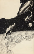 Pulp, Pulp-like, Digests, and Paperback Art, FRANK R. PAUL (American, 1884-1963). The Men of Space, sciencefiction digest interior illustration. Mixed media on pape...