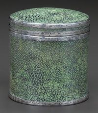 A SILVER MOUNTED SHAGREEN BOX, Attributed to John Paul Cooper, 20th century 3-5/8 inches high x 3-3/8 inches diame