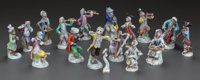 AN ASSEMBLED SEVENTEEN PIECE GERMAN PORCELAIN MONKEY BAND, Meissen Porcelain Manufactory, Meissen, Germany & Dre...