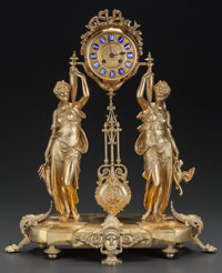 A NAPOLEON III-STYLE GILT BRONZE MANTLE CLOCK, late 19th century 23 x 20-1/2 x 7-1/2 inches (58.4 x 52.1 x 19.1 cm