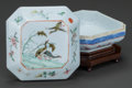 Asian:Chinese, A CHINESE PORCELAIN SCHOLAR'S BOX, 19th century. Marks: (chopmarks). 2-1/4 x 3-3/4 x 3-3/4 inches (5.7 x 9.5 x 9.5 cm) (wit...(Total: 2 Items)