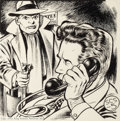 Pulp, Pulp-like, Digests, and Paperback Art, EDD CARTIER (American, b. 1914). Group of three science fictionpulp interior illustrations, 1948-49. Conte crayon and i...(Total: 3 Items)