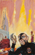 Pulp, Pulp-like, Digests, and Paperback Art, EDMUND (EMSH) EMSHWILLER (American, 1925-1990). City in Flames,preliminary book cover . Gouache on board. 6.625 x 4.25 ...