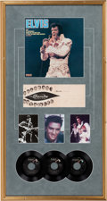 Music Memorabilia:Autographs and Signed Items, Elvis Presley Display with Signed Postcard...