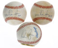 Autographs:Baseballs, Nolan Ryan Single Signed Baseballs Lot of 3 with Ball Clock. TheCooperstown Timepiece Company produces distinctive timepie...(Total: 3 Items)