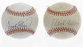 Autographs:Baseballs, Hank Aaron and Frank Robinson Single Signed Baseballs Lot of 2.These two HOF sluggers provide this wonderful duo of single...(Total: 2 Items)