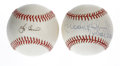 "Autographs:Baseballs, Yogi Berra and Brooks Robinson ""16 Gold Gloves"" Single SignedBaseballs. Each of these Hall of Fame heroes provides a sweet...(Total: 2 Items)"