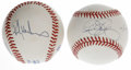 Autographs:Baseballs, Rickey Henderson and Dennis Eckersley Single Signed Baseballs. Pairof single-signed OAL (Brown) orbs features former Oakla... (Total:2 Items)