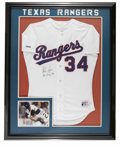 Autographs:Jerseys, 1990 Nolan Ryan Signed Game-Issued Jersey. Rawlings white TexasRangers home jersey is the same version issued to Nolan Rya...