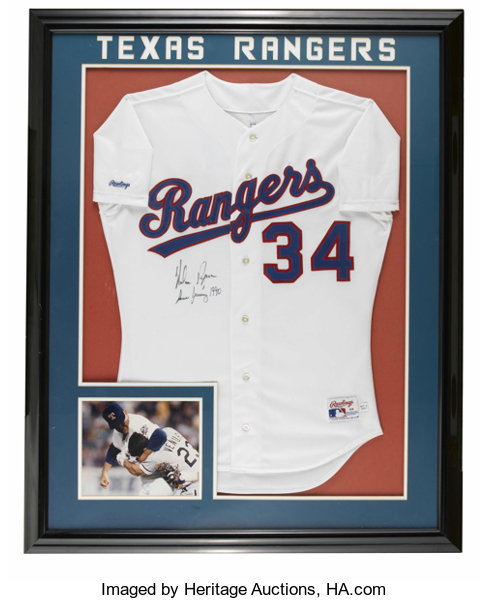 low priced 51b3a 705ab 1990 Nolan Ryan Signed Game-Issued Jersey. Rawlings white ...