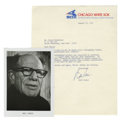 Autographs:Photos, 1976 Bill Veeck Signed Photograph with Signed Typed Letter. Thewildly ambitious baseball executive Bill Veeck was known fo...