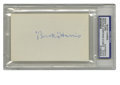 Autographs:Index Cards, Bucky Harris Signed Index Card PSA Authentic. Starting with his becoming a player/manager for the Washington Senators at th...