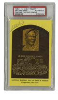 Autographs:Index Cards, Satchel Paige Signed Index Card PSA Authentic. Despite becoming theoldest player to make his major league debut in 1948 at...