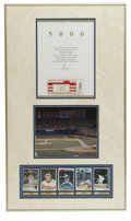 "Autographs:Others, Nolan Ryan 5,000 Strikeouts Signed Display. Framed to dimensions of18x32"", this display compiles various Nolan Ryan epheme..."