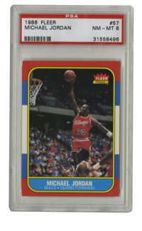 1986-87 Fleer Michael Jordan #57 PSA NM-MT 8. Yet another high-grade example of arguably the most coveted modern basketb...