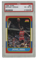 Basketball Cards:Singles (1980-Now), 1986-87 Fleer Michael Jordan #57 PSA EX-MT 6. Who doesn't want to get their hands on the '86 Fleer Michael Jordan? This cov...