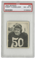 "Football Cards:Singles (Pre-1950), 1948 Bowman Robert Nussbaumer #58 PSA NM-MT 8. Redskins back Bob""Bomber"" Nussbaumer is the subject of the high-quality car..."