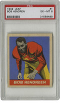 """Football Cards:Singles (Pre-1950), 1949 Leaf Bob Hendren #1 PSA EX-MT 6. Bob Hendren (misspelled here""""Hendreen"""") acts as the #1 card to the classic 1949 Leaf..."""