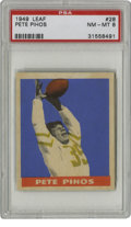 Football Cards:Singles (Pre-1950), 1949 Leaf Pete Pihos #28 PSA NM-MT 8. Amazing HOF athlete whostarred on both sides of the ball (he played defensive end as...