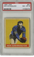 Football Cards:Singles (Pre-1950), 1949 Leaf Ken Kavanaugh #51 PSA NM-MT 8. During eight seasons withthe Chicago Bears, Ken Kavanaugh manned the end as a fas...