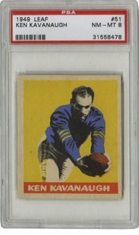 1949 Leaf Ken Kavanaugh #51 PSA NM-MT 8. During eight seasons with the Chicago Bears, Ken Kavanaugh manned the end as a...