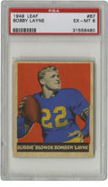 Football Cards:Singles (Pre-1950), 1949 Leaf Bobby Layne #67 PSA EX-MT 6. Tough early Bobby Layne cardis offered here from the '49 Leaf issue has been deemed...