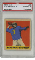 Football Cards:Singles (Pre-1950), 1949 Leaf Bob Waterfield #89 PSA NM-MT 8. High-grade HOF card fromthe 1949 Leaf football issue features the great quarterb...