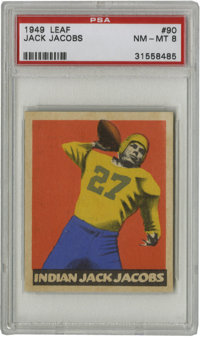 1949 Leaf Jack Jacobs #90 PSA NM/MT 8. Indian Jack Jacobs, as he was known for his full blood Creek Indian heritage, was...