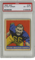 Football Cards:Singles (Pre-1950), 1949 Leaf Clyde Turner #150 PSA EX-MT 6. Quality offering of thelast card in the 1949 Leaf football issue features the Hal...