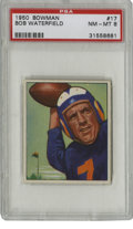 Football Cards:Singles (1950-1959), 1950 Bowman Bob Waterfield #17 PSA NM-MT 8. Beautiful high-grade card from the 1950 Bowman issue provides an excellent exam...