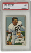 Football Cards:Singles (1950-1959), 1951 Bowman Otto Graham #2 PSA NM 7. Great early Graham card features the HOFer in his Cleveland Browns #60. Great high-g...
