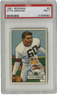 1951 Bowman Otto Graham #2 PSA NM 7. Great early Graham card features the HOFer in his Cleveland Browns #60. Great high-...