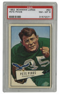 Football Cards:Singles (1950-1959), 1952 Bowman Large Pete Pihos #92 PSA NM-MT 8. High-grade HOF card from the '52 Bowman Large issue depicts the great two-way...