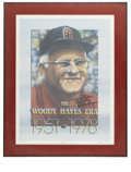"""Football Collectibles:Others, Woody Hayes Signed Lithograph. Massive 22x27"""" lithograph featuring the art of Hopper depicts the long-time Ohio State head ... (Total: 3 Items)"""