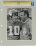 Football Collectibles:Photos, Circa 1960s Fran Tarkenton and Norm Van Brocklin Vintage Photograph. These two HOF football players spent a good part of th...