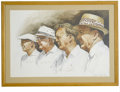 "Golf Collectibles:Autographs, Golf Hall of Famers Signed Lithograph. Elegant large-sized (20x29"")lithograph takes as its subjects a group of some of the..."
