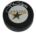 Hockey Collectibles:Others, Bret Hull Signed Hockey Puck. A ferocious scorer who finished his career with 741 goals, only behind Gretzky and Gordie How...